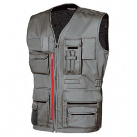 Gilet de travail multipoches avec porte badge rétractable - FUN Stone Grey - HY018SG - U-Power