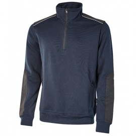 Sweat-shirt de travail semi-zippé en French Terry non gratté - PERFECT Deep Blue - EY121DB - U-Power