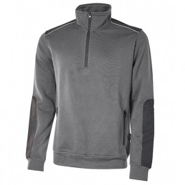 Sweat-shirt de travail semi-zippé en French Terry non gratté - PERFECT Grey Meteorite - EY121GM - U-Power