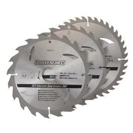 3 lames de scie circulaire carbure D. 190 x 30 mm x Z : 20, 24 et 40 - 590591 - Silverline