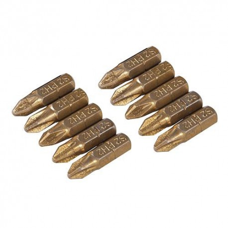 10 embouts de vissage L.25 mm Pozidriv PZ2, titane ( TiN) - 595746 - Silverline