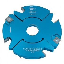 Porte-outils feuillure - rainure - tenon extensible D. 150 mm Al. 30 mm Ep. 14-28 mm Z4 et V4 - 928.150.30.1428 - Leman