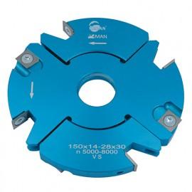 Porte-outils feuillure - rainure - tenon extensible D. 150 mm Al. 30 mm Ep. 20-39 mm Z4 et V4 - 928.150.30.2039 - Leman