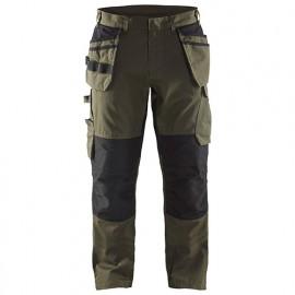Pantalon service stretch avec poches flottantes - 4599 Vert Olive/Noir - Blaklader