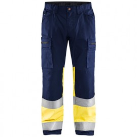Pantalon artisan stretch haute-visibilité - 8933 Marine/Jaune fluo - Blaklader
