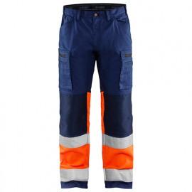 Pantalon artisan stretch haute-visibilité - 8953 Marine/Orange fluo - Blaklader