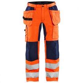 Pantalon artisan stretch haute-visibilité - 5389 Orange fluo/Marine - Blaklader
