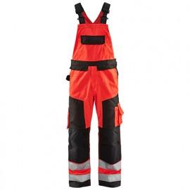 Cotte à bretelles haute-visibilité - 5599 Rouge fluo/Noir - Blaklader
