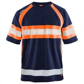 T-shirt haute-visibilité anti-UV anti-odeur - 8953 Marine/Orange fluo - Blaklader