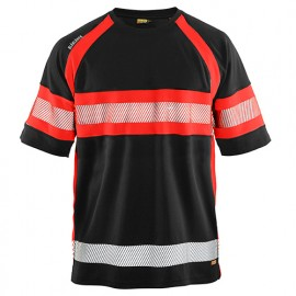 T-shirt haute-visibilité anti-UV anti-odeur - 9955 Noir/Rouge fluo - Blaklader