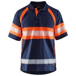 Polo haute-visibilité anti-UV anti-odeur - 8953 Marine/Orange fluo - Blaklader