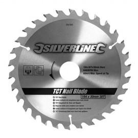 Lame de scie circulaire carbure D. 190 x 16 mm x Z : 30 pour bois clouté / béton cellulaire - 633507 - Silverline