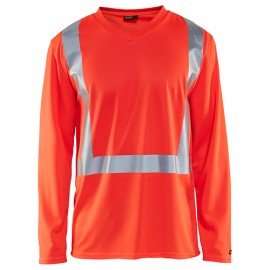T-shirt manches longues haute-visibilité col V anti-UV anti-odeur - 5500 Rouge fluo - Blaklader