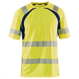 T-shirt anti-UV haute-visibilité - 3389 Jaune fluo/Marine - Blaklader