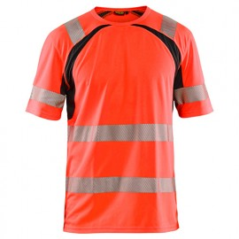 T-shirt anti-UV haute-visibilité - 5599 Rouge fluo/Noir - Blaklader
