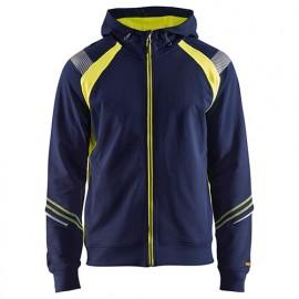 Sweat zippé à capuche - 8933 Marine/Jaune fluo - Blaklader