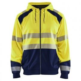 Sweat zippé à capuche haute-visibilité - 3389 Jaune fluo/Marine - Blaklader