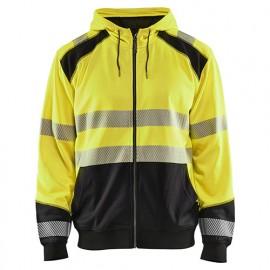 Sweat zippé à capuche haute-visibilité - 3399 Jaune fluo/Noir - Blaklader