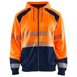 Sweat zippé à capuche haute-visibilité - 5389 Orange fluo/Marine - Blaklader