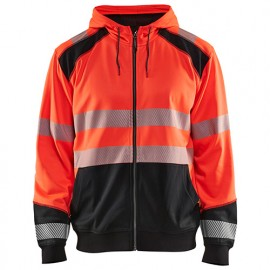 Sweat zippé à capuche haute-visibilité - 5599 Rouge fluo/Noir - Blaklader
