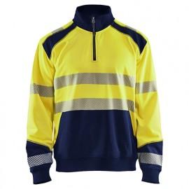 Sweat col camionneur haute-visibilité - 3389 Jaune fluo/Marine - Blaklader