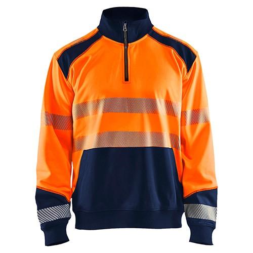 Sweat col camionneur haute visibilité 5389 Orange fluo