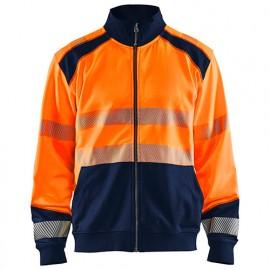 Sweat zippé haute-visibilité - 5389 Orange fluo/Marine - Blaklader