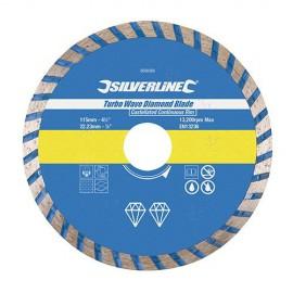 Disque diamant jante continue cannelée Turbo D. 230 x 22,23 x 7 mm pour béton et matériaux - 633588 - Silverline