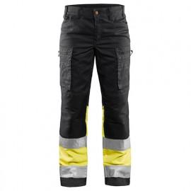 Pantalon haute-visibilité stretch femme - 9933 Noir/Jaune fluo - Blaklader