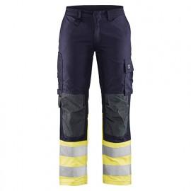 Pantalon multinormes inhérent femme - 8933 Marine/Jaune fluo - Blaklader