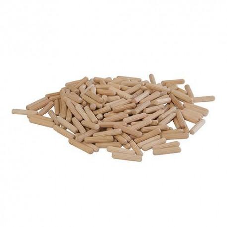200 chevilles bois canelées D. 6 x 30 mm - 633751 - Silverline