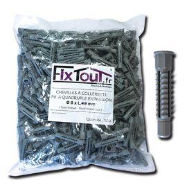 500 chevilles à collerette P.E à quadruple expansion type nœud D. 8 x L. 49 mm (D. 8 mm) - multi-matériaux - Fixtout