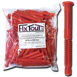 100 chevilles à collerette P.E à quadruple expansion type nœud D. 12 x L. 120 mm (D. 12 mm) - multi-matériaux - Fixtout