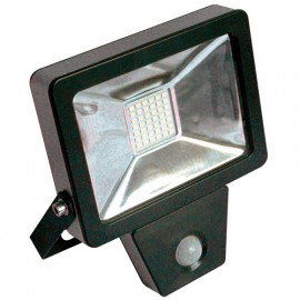 Projecteur plat SMD LED à détection infra-rouge 10W - 800 Lm. 6500K. IP44. Coloris NOIR - 599080 - Fox Light