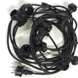 Guirlande type guinguette 10M de 10 douilles E27 et câble noir H07RN-F 2x1,5mm2 IP44 230V - 600878 - Fox Light