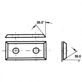 Lot de 10 plaquettes réversibles au carbure - 35° KO5 49,5x12x1,5 mm 4 coupes pour bois - 02.2556.4 - Leman