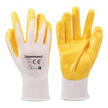 Gants nylon enduction nitrile Large - 675069 - Silverline