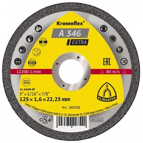 Disque à tronçonner A 346 EXTRA D. 115 x 1,6 x 22,23 mm - Aluminium / Acier inoxydable / Métal - 340936 - Klingspor