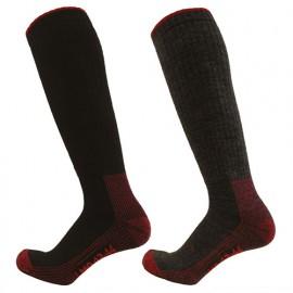 2 paires de chaussettes hautes Cordura - Gamme Chaussettes - EROS - NOIR-ROUGE et GRIS CHINE-ROUGE - 99103C - LMA Lebeurre