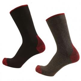 2 paires de chaussettes renforcées - Gamme Chaussettes - ARES - NOIR-ROUGE et GRIS CHINE-ROUGE - 99101C - LMA Lebeurre