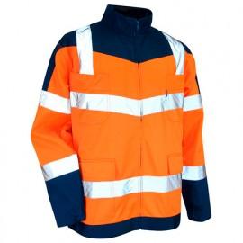Blouson HV zéro métal à col montant Classe 2 - Gamme Haute Visibilité - URGENCE - ORANGE FLUO-BLEU NUIT - 2115 - LMA Lebeurre