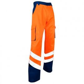 Pantalon HV bicolore zéro métal Classe 2 - Gamme Haute Visibilité - URGENCE - ORANGE FLUO-BLEU NUIT - 1408 - LMA Lebeurre