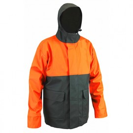 Veste de pluie à capuche semi PU imperméable EN343 EN13688 - Gamme Top Pluie - FOUDRE - KAKI-ORANGE FLUO - 2091 - LMA Lebeurre