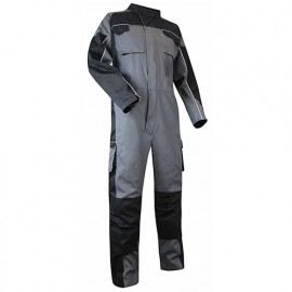 Combinaison à col officier avec poches genouillères - Gamme Pratic - PAILLE- GRIS-NOIR - 401121 - LMA Lebeurre