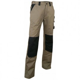 Pantalon de travail bicolore avec poches genouillères - Gamme Pratic - PLOMB - BEIGE-NOIR - 130300 - LMA Lebeurre
