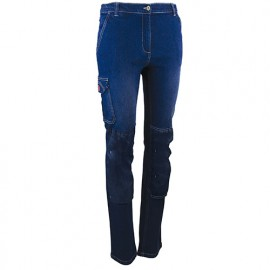 Pantalon de travail strech multipoches - Gamme Femme - FLEXION - DENIM - 1619 - LMA Lebeurre