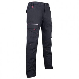 Pantalon de travail tissu canvas extensible avec multipoches - Gamme Basalte - BASALTE - NOIR - 1425 - LMA Lebeurre