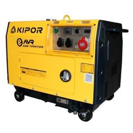Groupe électrogène thermique AVR 5200W 2 x 230V et 6500W 1 x 400V moteur Diesel 6600W - Kipor KDE7500TD3 - 452815 - Eurom