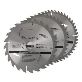 3 lames de scie circulaire carbure D. 210 x 30 mm x Z : 24, 40, et 48 - 690459 - Silverline