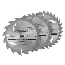 3 lames de scie circulaire carbure D. 135 x 12,7 mm x Z : 16, 24 et 30 - 704410 - Silverline